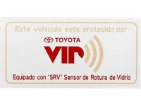 Toyota Highlander VIP Security System, GBS window label spanish - PT398-42091
